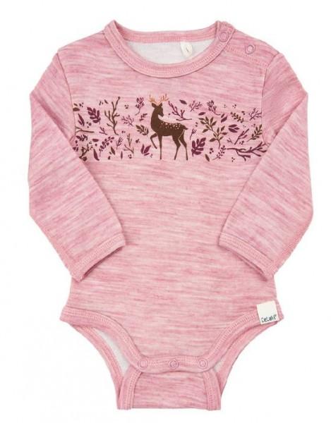 Celavi Baby Langarmbody rosa Rehmotiv Wolle mit Viskose aus Bambus