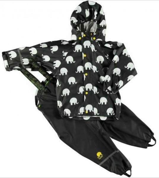 CeLaVi Regenanzug schwarz / weiss Elephants Set Regenhose + Regenjacke