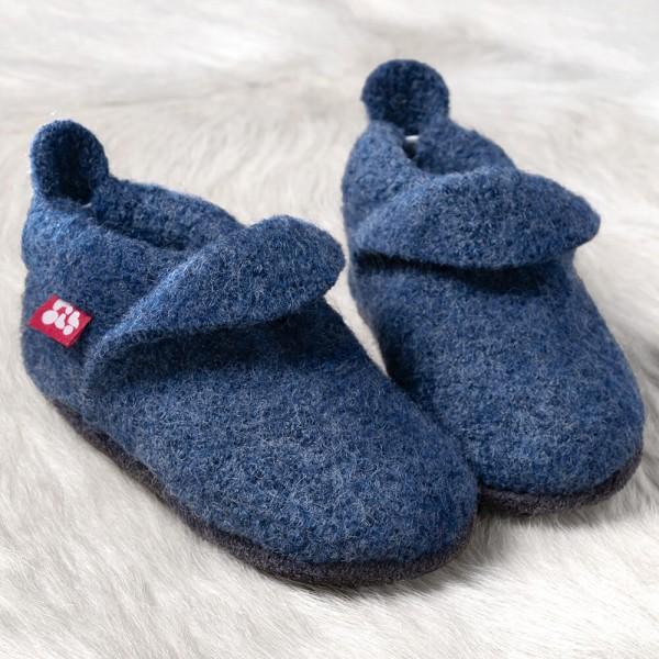 Pololo Kinder Hausschuhe Wollwalk uni jeans blau