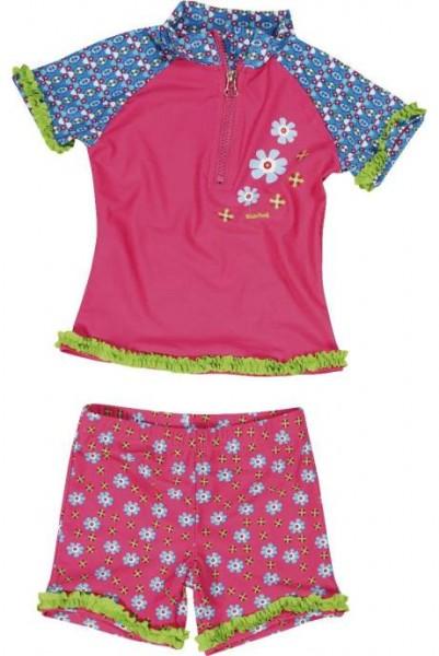 UV Schutz Mädchen Sonnenschutzanzug 2 Teile Blumen pink/bleu