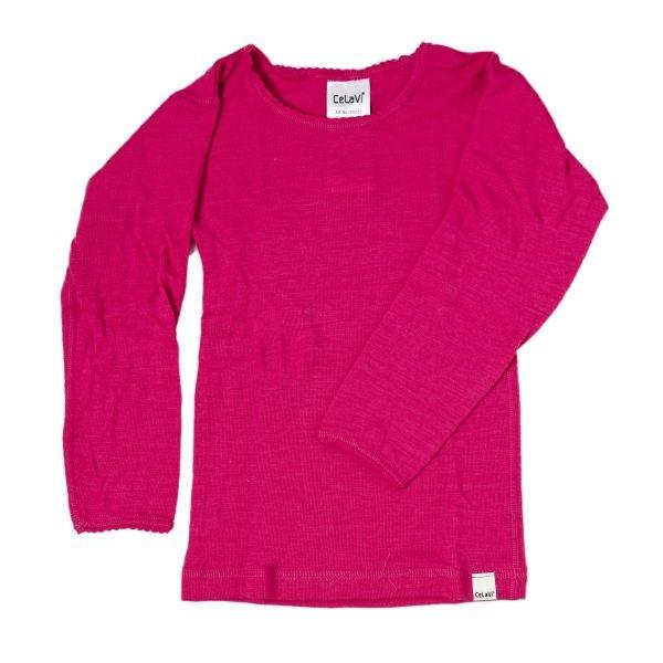 Celavi Kinder Unterhemd pink Langarm Merino Schurwolle Ökotex100