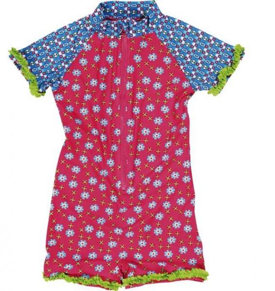 UV-Schutz Overall für Mädchen pink / bleu Blumen