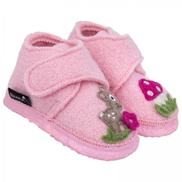 Nanga Hausschuhe kleines Reh rosa Schurwolle