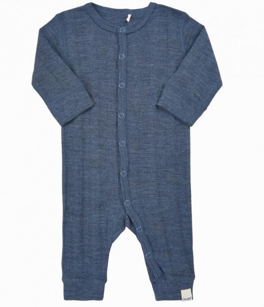 Celavi Baby Schlafanzug Wolle Overall uni jeansblau