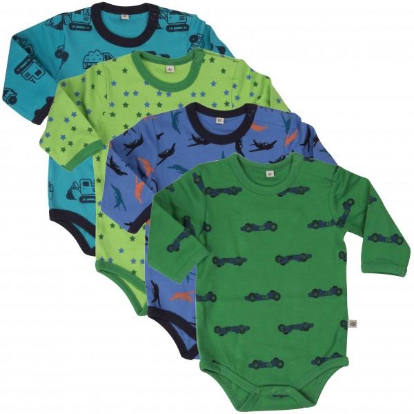 Pippi Langarm Body blau/grün Bagger & Flugzeuge 4er Pack Baumwolle