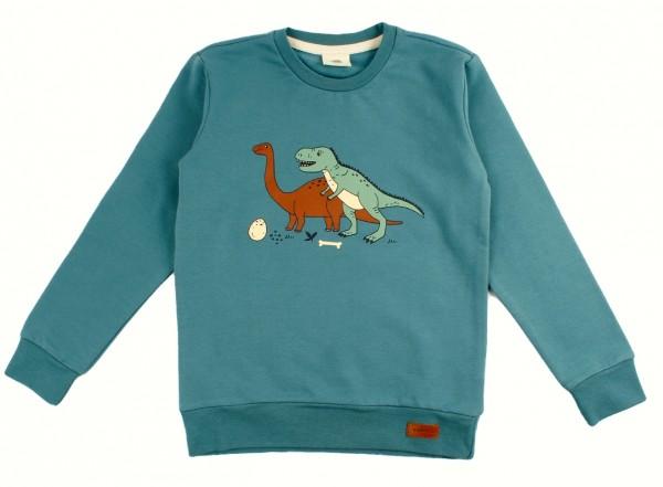 Walkiddy Dinosaurier Sweatshirt dark petrol Dinos Sweati Biobaumwolle