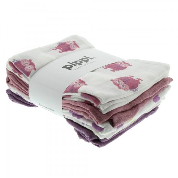 Pippi Stoffwindeln rosa Eulen 8er Pack