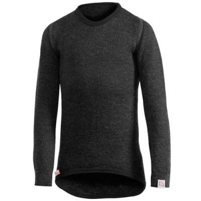 Woolpower Langarm Funktionsshirt schwarz Unterhemd Crewneck 200 Wolle Ökotex100