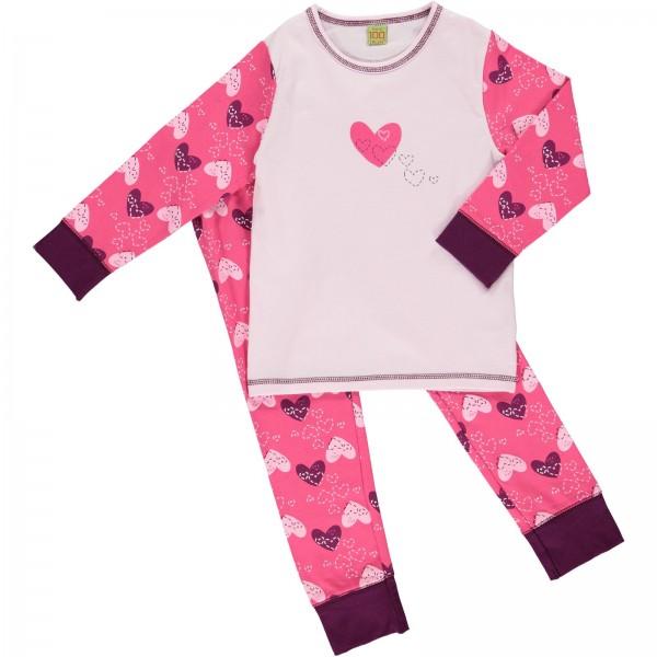 Celavi Mädchen Schlafanzug Herz rosapink