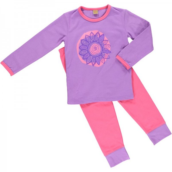 Celavi Mädchen Schlafanzug Blume pink/violett