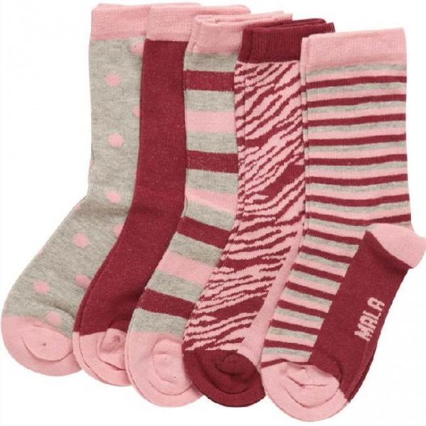Mala Mädchen Socken 5er Pack Söckchen pink/grau