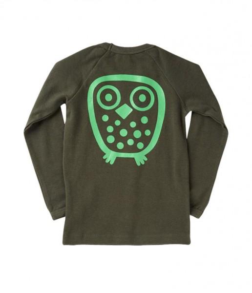 Ej sikke lej Basic Langarmshirt Big Owl Eule rosin green