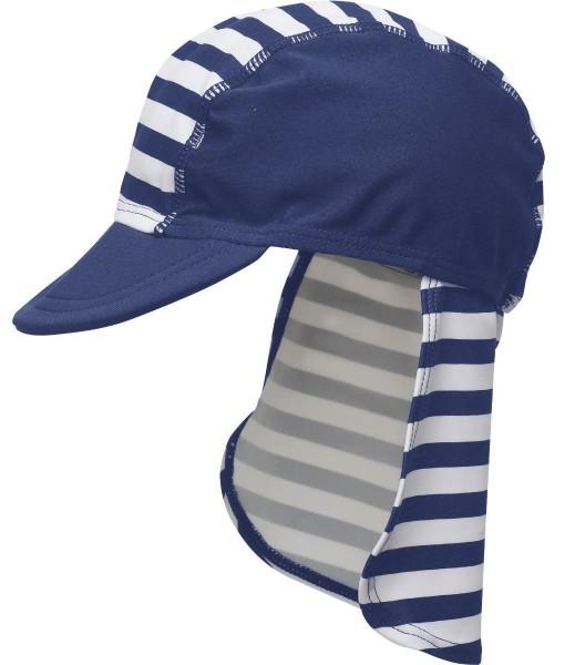 UV Schutz Strandhut Bademütze Sonnenmütze Maritim blau weiß Streifen