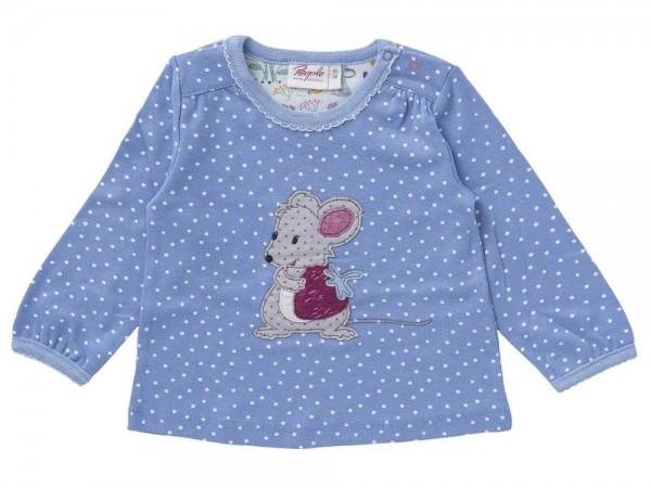 Mädchen Langarmshirt Maus himmelblau aus Bio-Baumwolle (kbA)