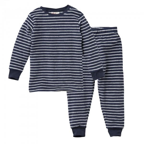 People Wear Organic dunkelblau Frottee Jungen Schlafanzug Pyjama Bio-Baumwolle