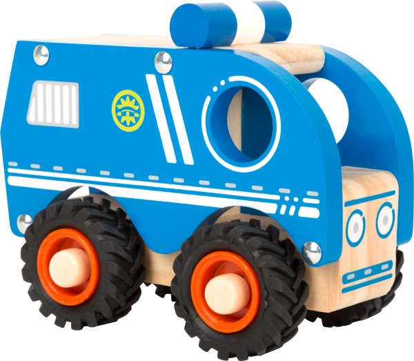 Polizeiauto aus Holz blau