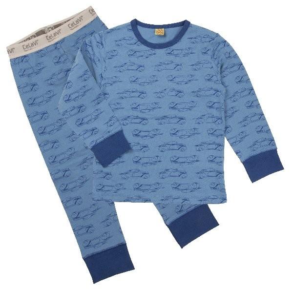 Celavi Schlafanzug Rennwagen jeansblau