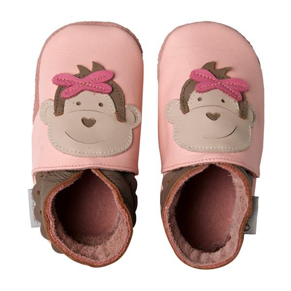 Bobux Mädchen Krabbelschuhe rosa Äffchen