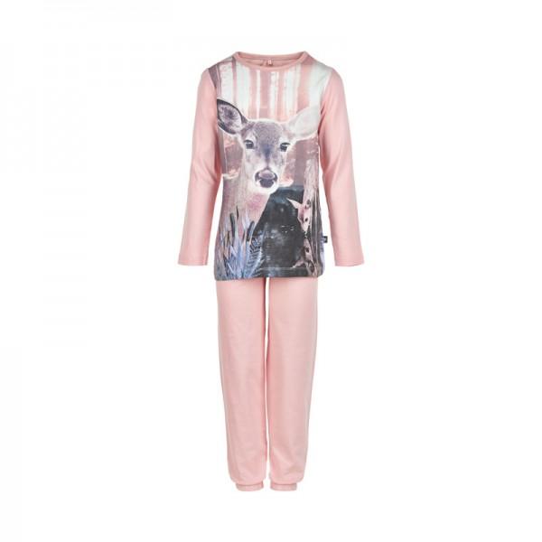 Süßer Mädchen Schlafanzug Reh Pyjama peachrose