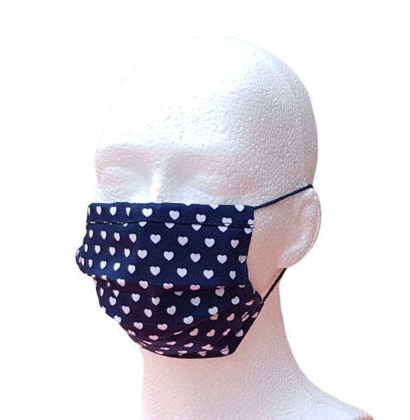 Alltagsmaske für Erwachsene blau mit Herzchen Mund-Nasen-Maske