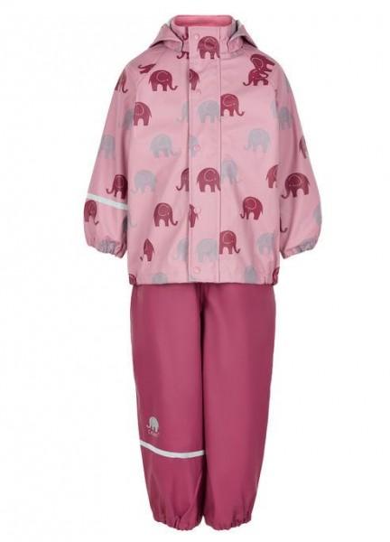 CeLaVi Mädchen Regenanzug rosa / rot Elefanten Set Regenhose + Regenjacke
