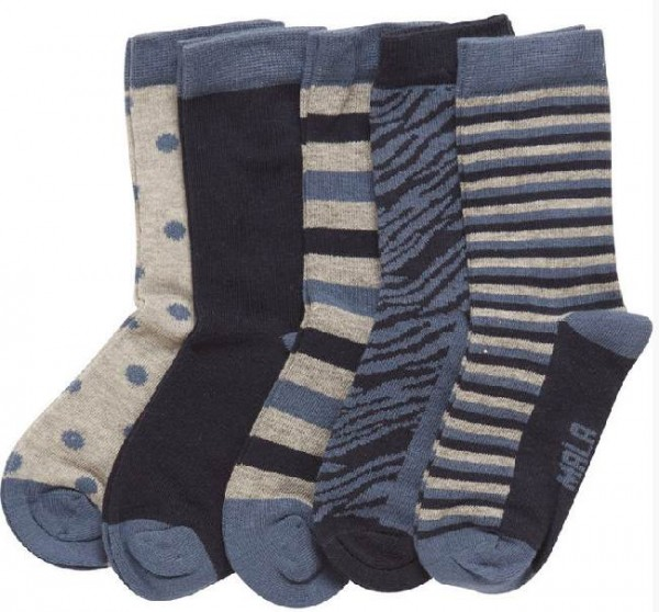 Mala Kinder Socken 5er Pack blau/grau Söckchen Sparpack