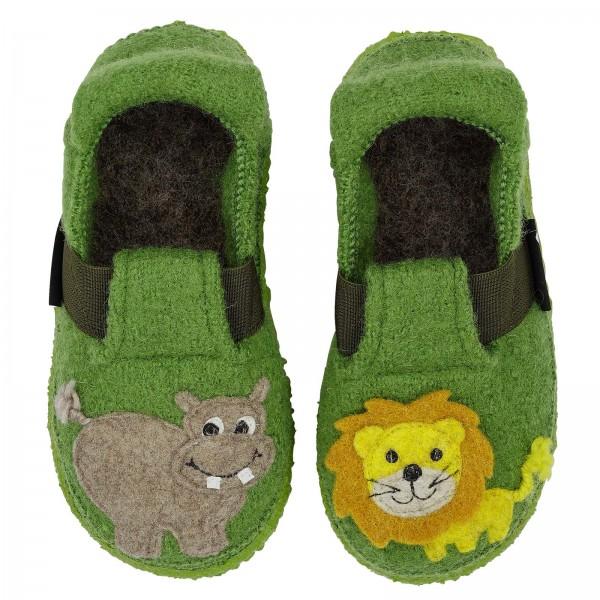 Nanga Kinder Hausschuhe Jungle Kings grün Schurwolle