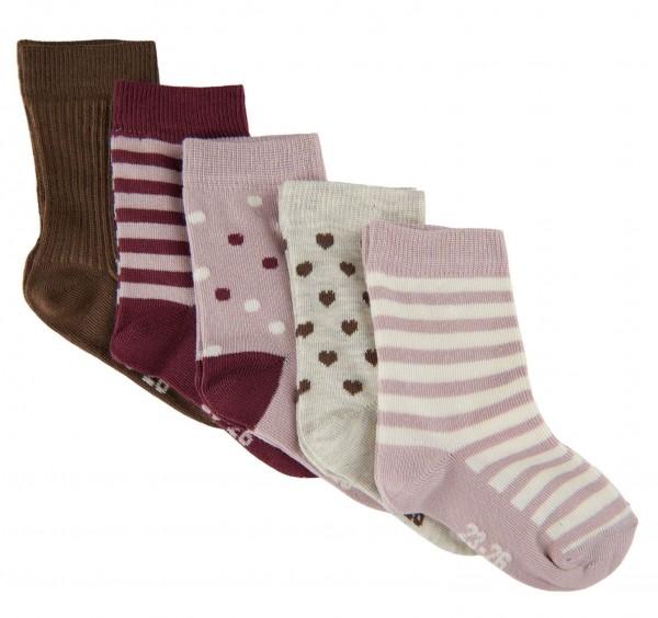 Minymo Mädchen Socken 5er Pack rose/braun Söckchen