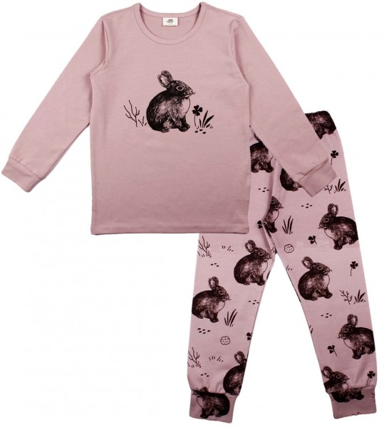 Walkiddy Mädchen Schlafanzug cute Rabbits smoky rosa GOTS