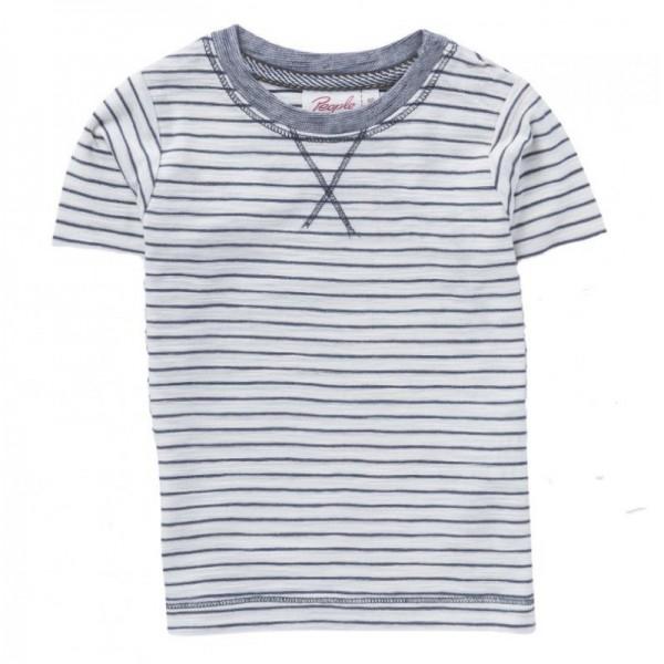Sommer T-Shirt grau/natur Ringel Jersey Bio-Baumwolle