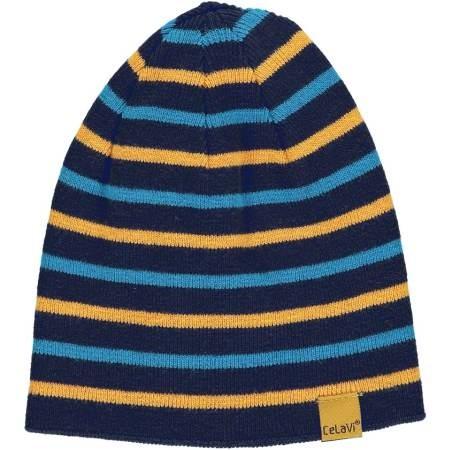 Celavi Wintermütze Kinder Strickmütze dunkel blau gestreift