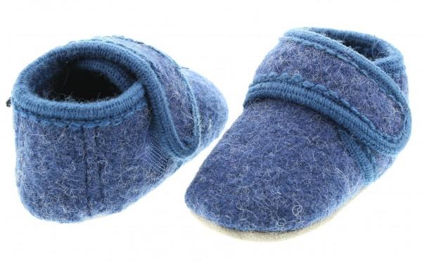 Celavi Hausschuhe jeansblau melange Wolle Kinderhausschuhe