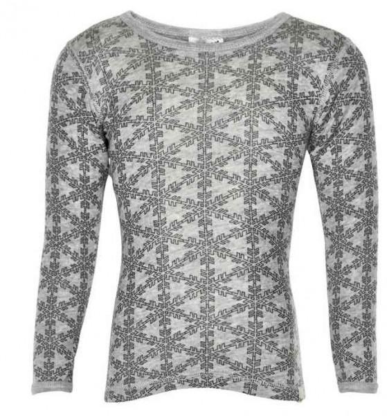 Celavi Langarmshirt grau melange Schneeflocke Unterhemd Wolle