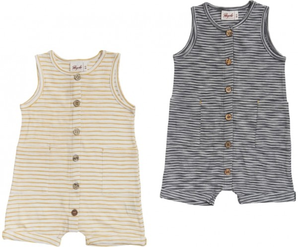 People wear Organic Baby Sommer Shorty Overall gestreift