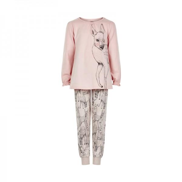 Hübscher Mädchen Schlafanzug zartrosa Rehkitz Pyjama