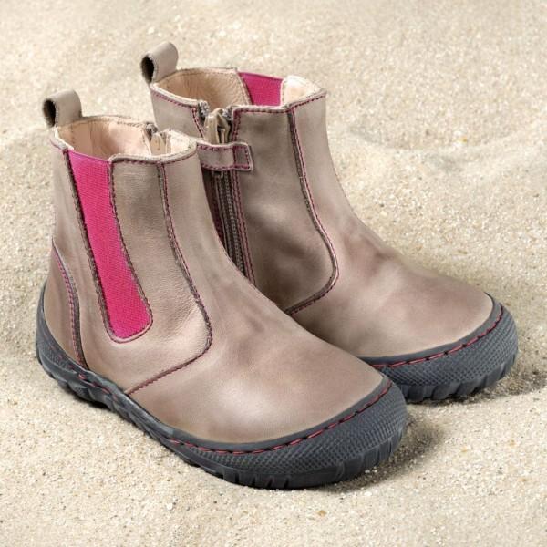 Pololo Kinderschuhe Chelsea Boots stone pink robust aus Ökoleder
