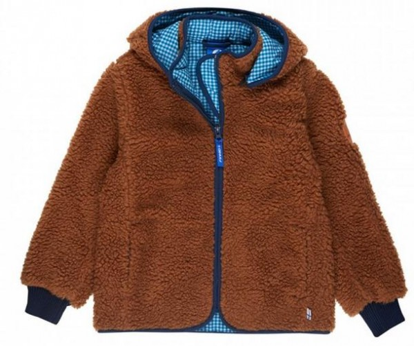 Finkid Tonttu Teddy Fleecejacke brown/denim