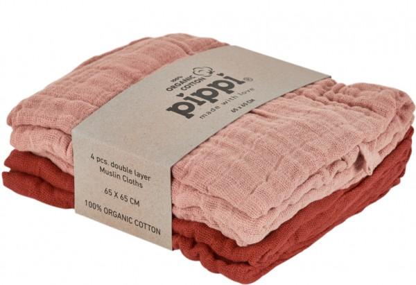 Pippi Bio Mulltücher red/misty rose 4er Pack Organic redwood/misty rose
