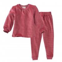 People wear organic Mädchen Nicki Pyjama rosa geringelt Bio-Baumwolle