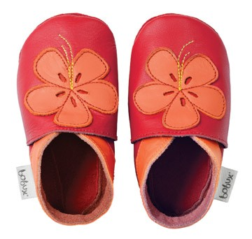 Bobux Mädchen Krabbelschuhe Hibiskus rot/orange