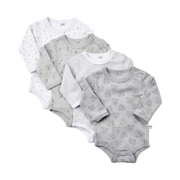 Pippi Langarm Body grau/weiß Streifen & Wald Tiere 4er Pack Baumwolle