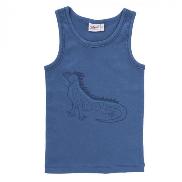 Jungen Unterhemd Leguan blau Bio-Baumwolle