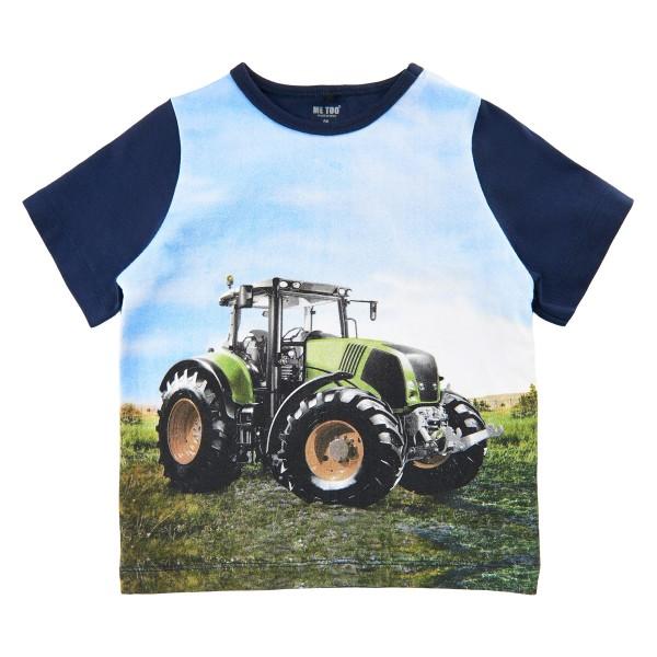 Metoo Kurzarm T-Shirt Traktor grün/blau