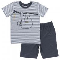 Sommer Schlafanzug Faultier geringelt Bio-Baumwolle