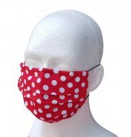 Mund- und Nasen-Maske für Erwachsene rot Punkte weiß