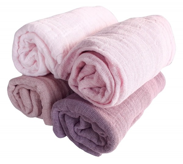 Pippi Mulltücher 4er Pack Girls rosa Farbtöne Organic Baumwolle