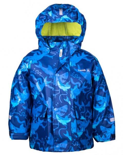 Kamik Kinder Regenjacke Shark Haifisch blau mit Textilfutter