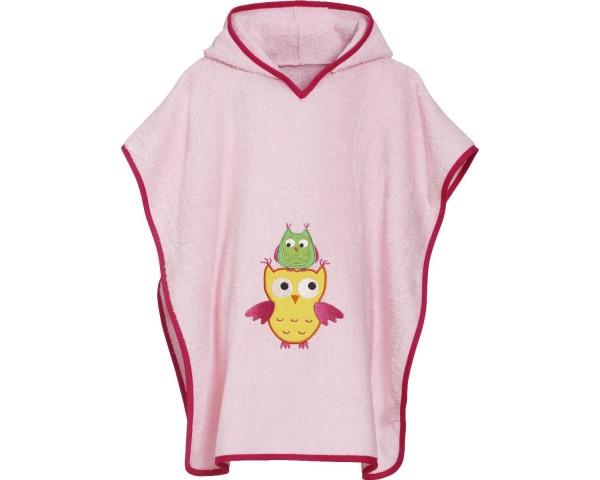 Kinder Badeponcho rosa Eulen Kapuzen Badeumhang Ökotex100