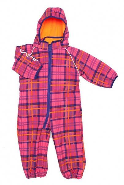 Minymo Softshellanzug Raven12 Karo pink Matschoverall