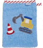 Kinder Waschhandschuh hellblau mit Bagger Ökotex100